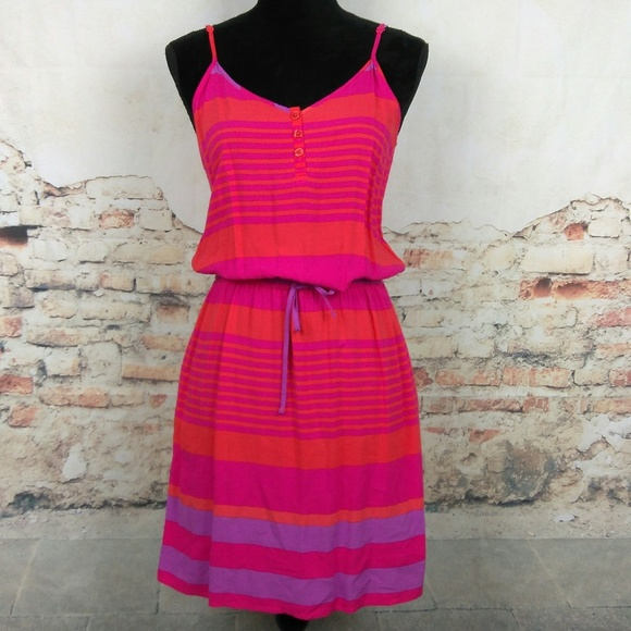 Gap Dresses S Pink Orange Purple Striped Dress Pockets Poshmark